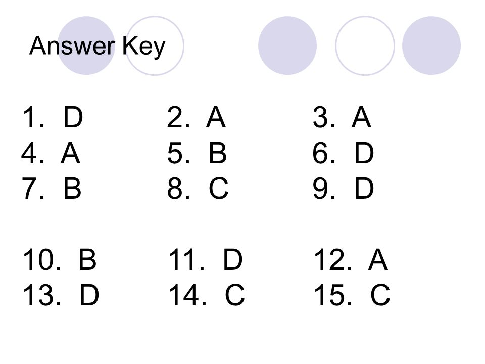 Answer Key 1. D 2. A 3. A. 4. A 5. B 6. D. 7. B 8. C 9. D. 10. B 11. D 12. A.