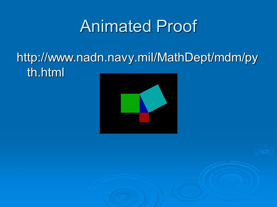 Animated Proof http://www.nadn.navy.mil/MathDept/mdm/pyth.html