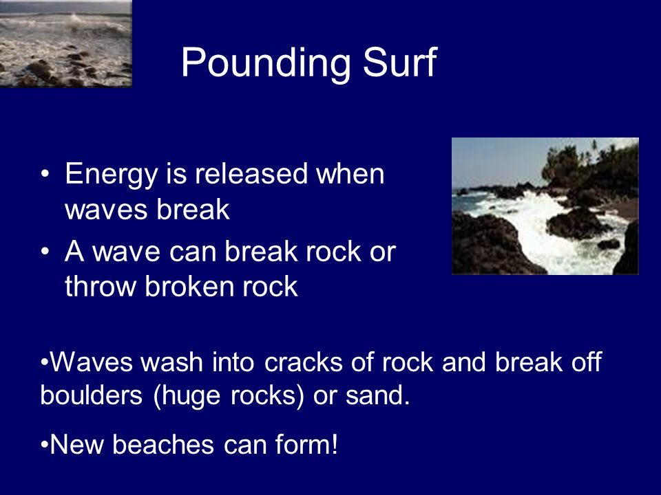 Pounding Surf Energy is released when waves break