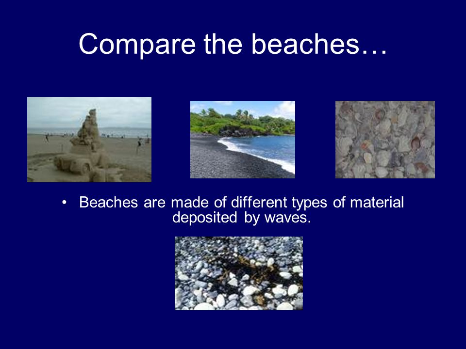 Beaches are made of different types of material deposited by waves.