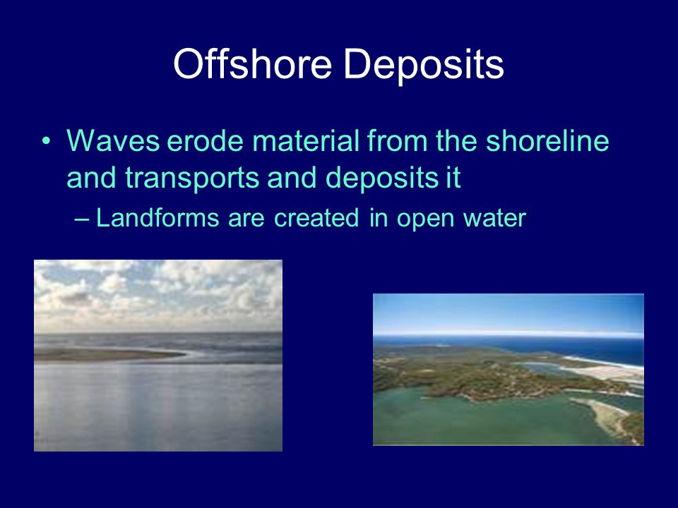 Offshore Deposits Waves erode material from the shoreline and transports and deposits it.