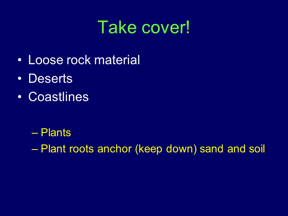 Take cover! Loose rock material Deserts Coastlines Plants