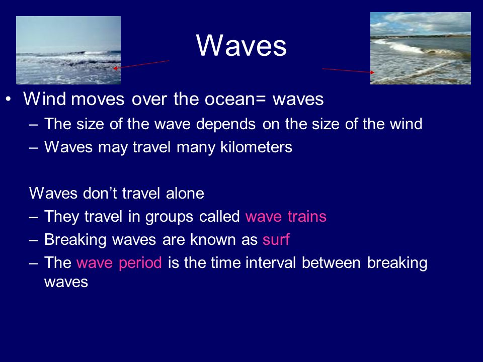 Waves Wind moves over the ocean= waves