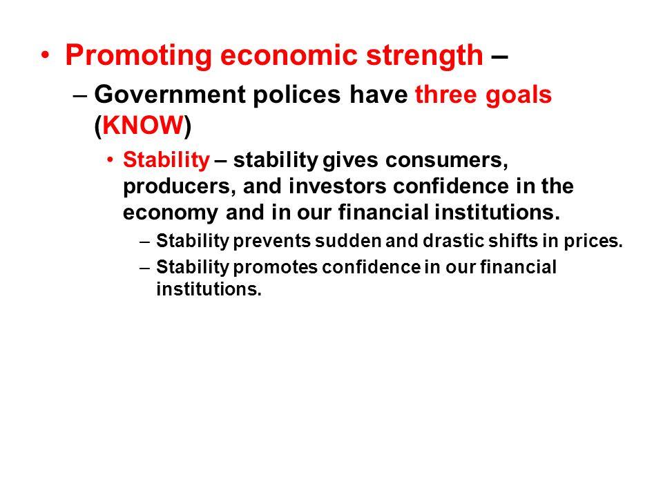 Promoting economic strength –