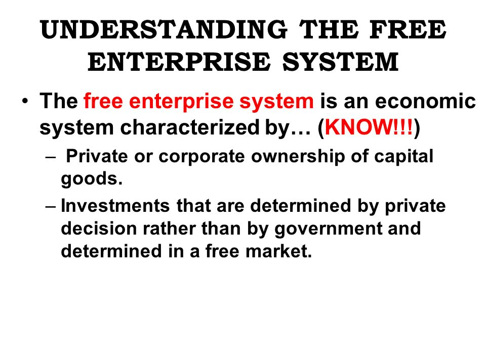 UNDERSTANDING THE FREE ENTERPRISE SYSTEM