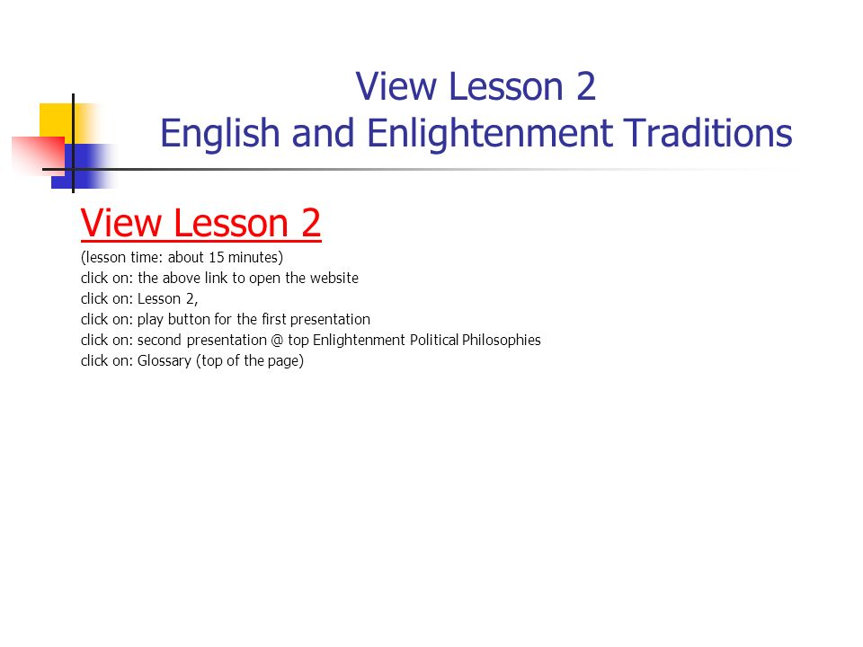 View Lesson 2 English and Enlightenment Traditions