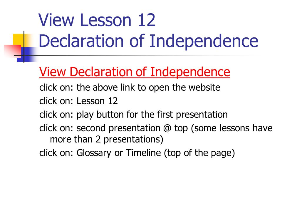View Lesson 12 Declaration of Independence