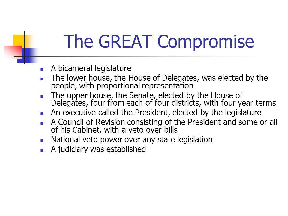 The GREAT Compromise A bicameral legislature