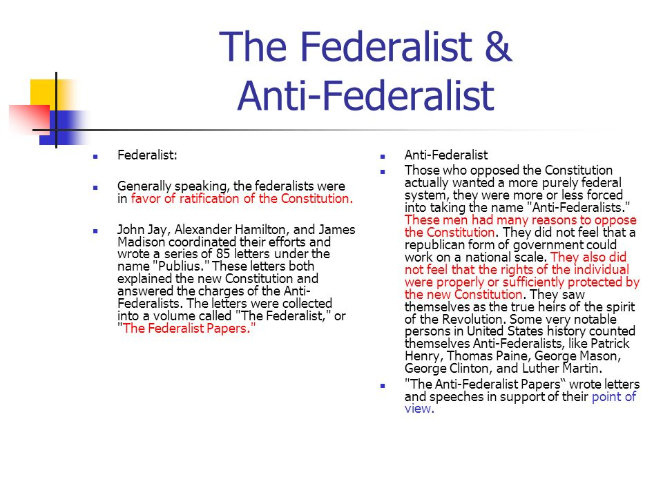 The Federalist & Anti-Federalist