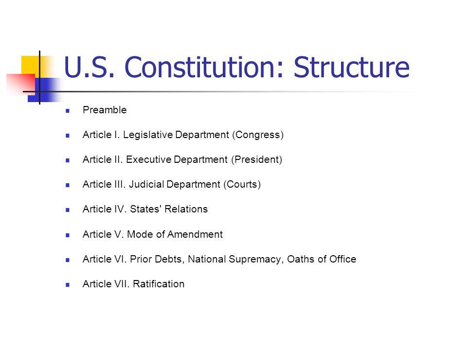 U.S. Constitution: Structure