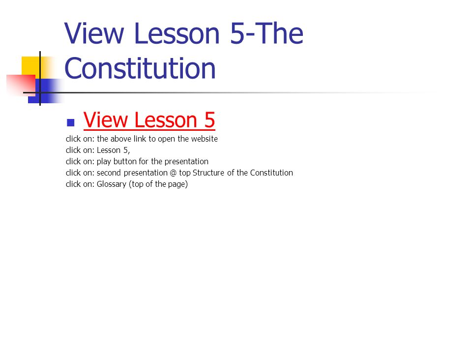 View Lesson 5-The Constitution