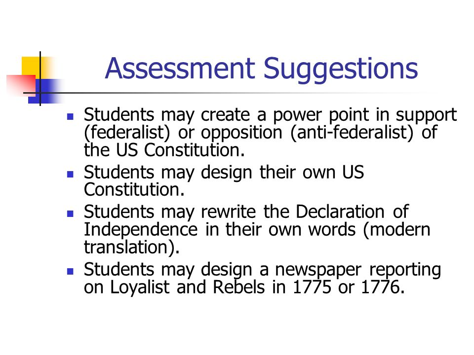 Assessment Suggestions