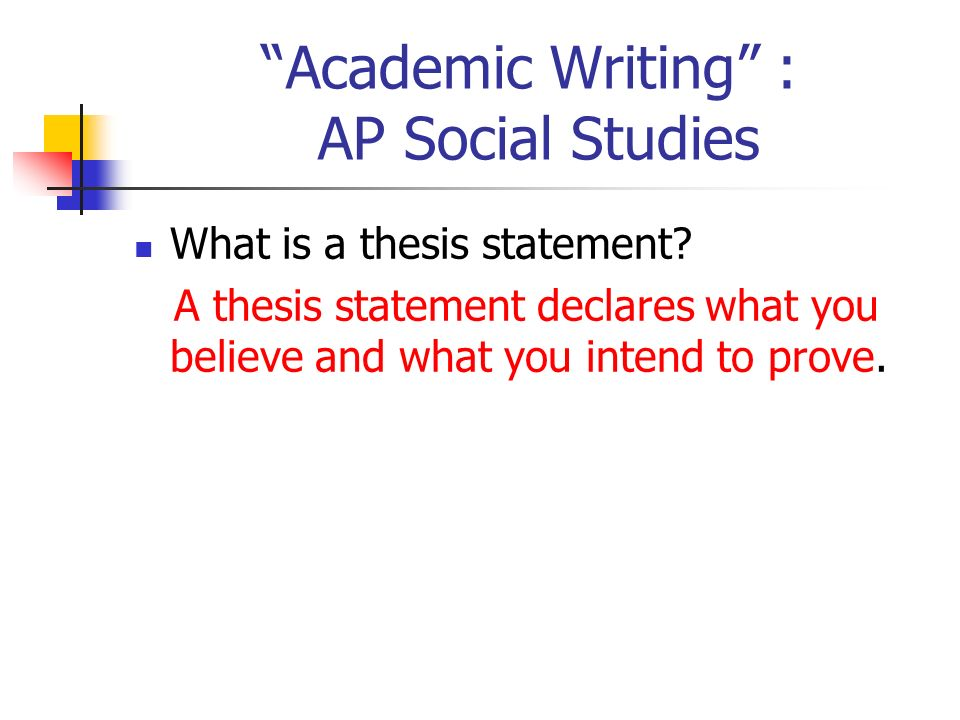 ap thesis statement The following are some crucial points in writing a clear and analytic thesis for   the above sentence is vague, wimpy, and is really just a restatement of an.