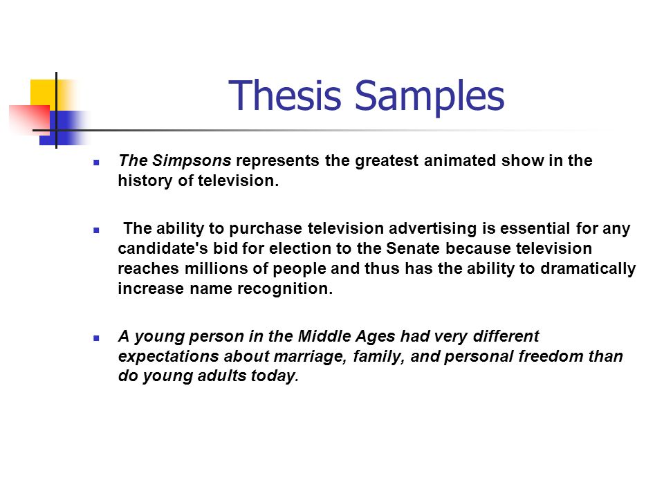 Thesis Samples The Simpsons represents the greatest animated show in the history of television.
