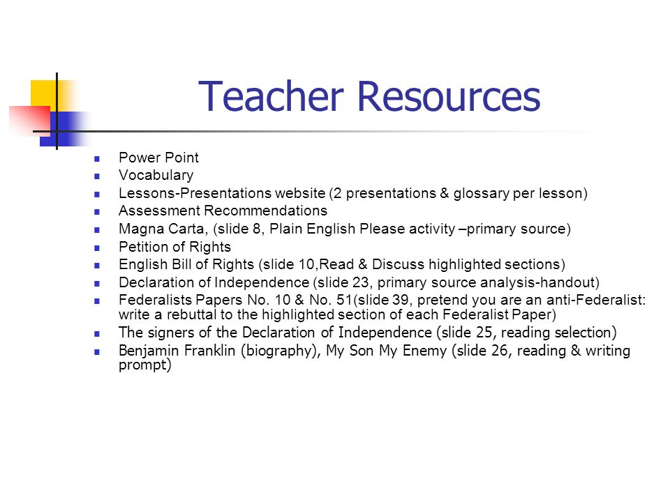 Teacher Resources Power Point Vocabulary