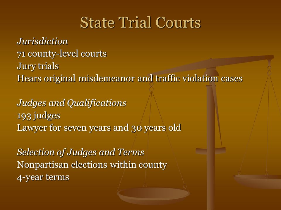 State Trial Courts Jurisdiction 71 county-level courts Jury trials