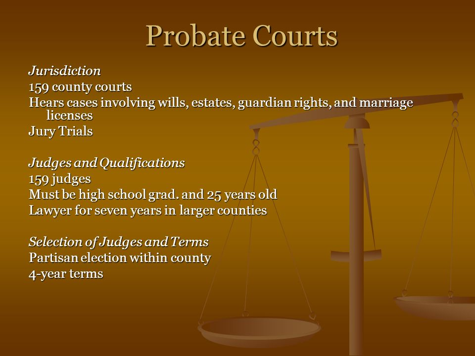 Probate Courts Jurisdiction 159 county courts