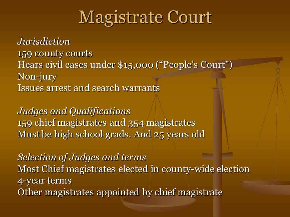 Magistrate Court Jurisdiction 159 county courts