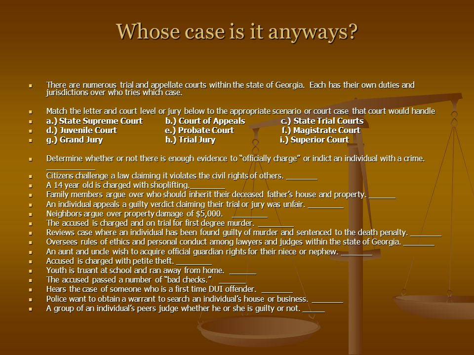 Whose case is it anyways