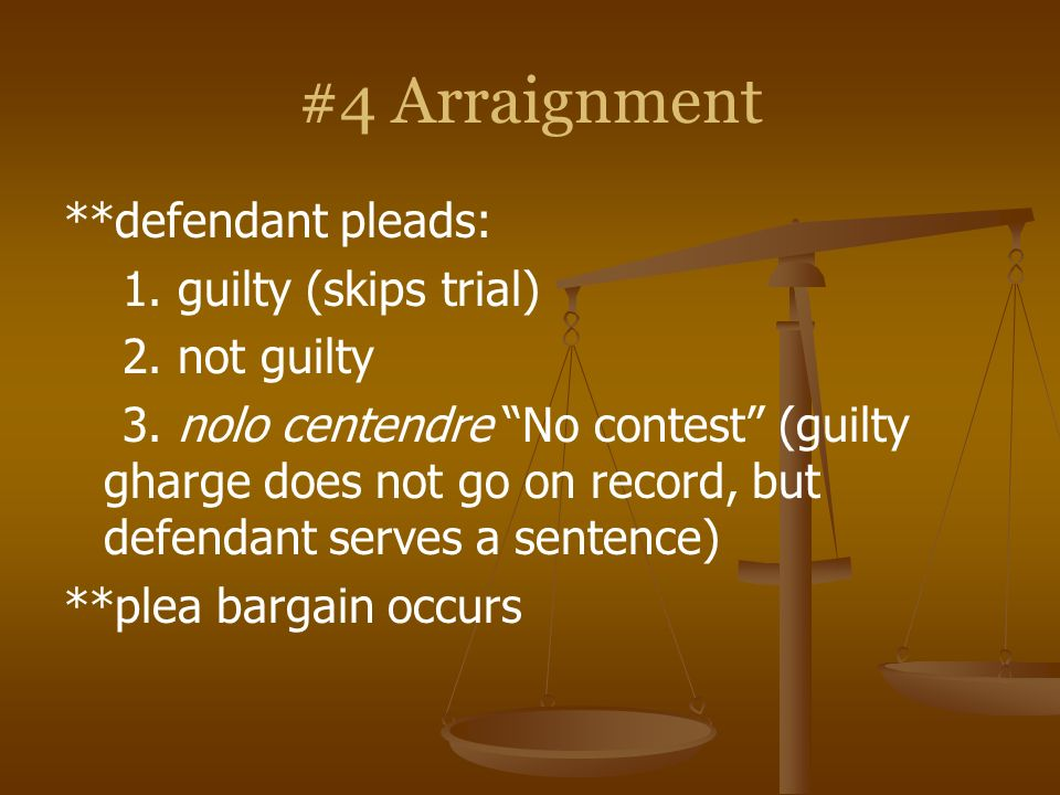 #4 Arraignment **defendant pleads: 1. guilty (skips trial)
