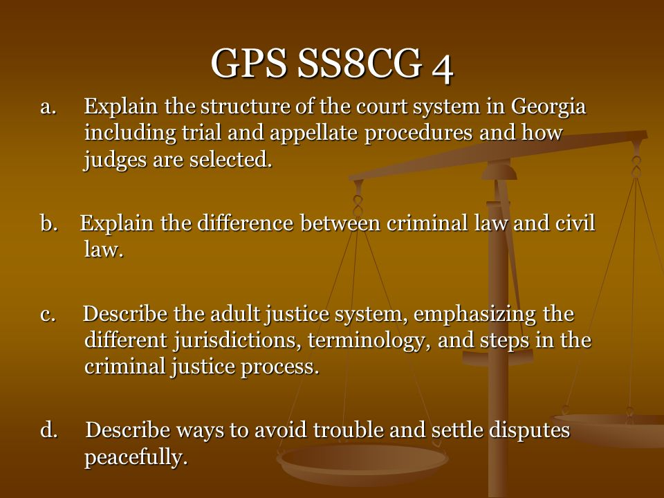 GPS SS8CG 4 a. Explain the structure of the court system in Georgia including trial and appellate procedures and how judges are selected.