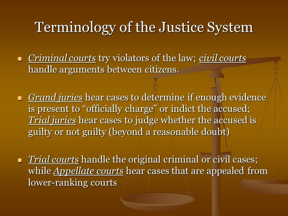 Terminology of the Justice System