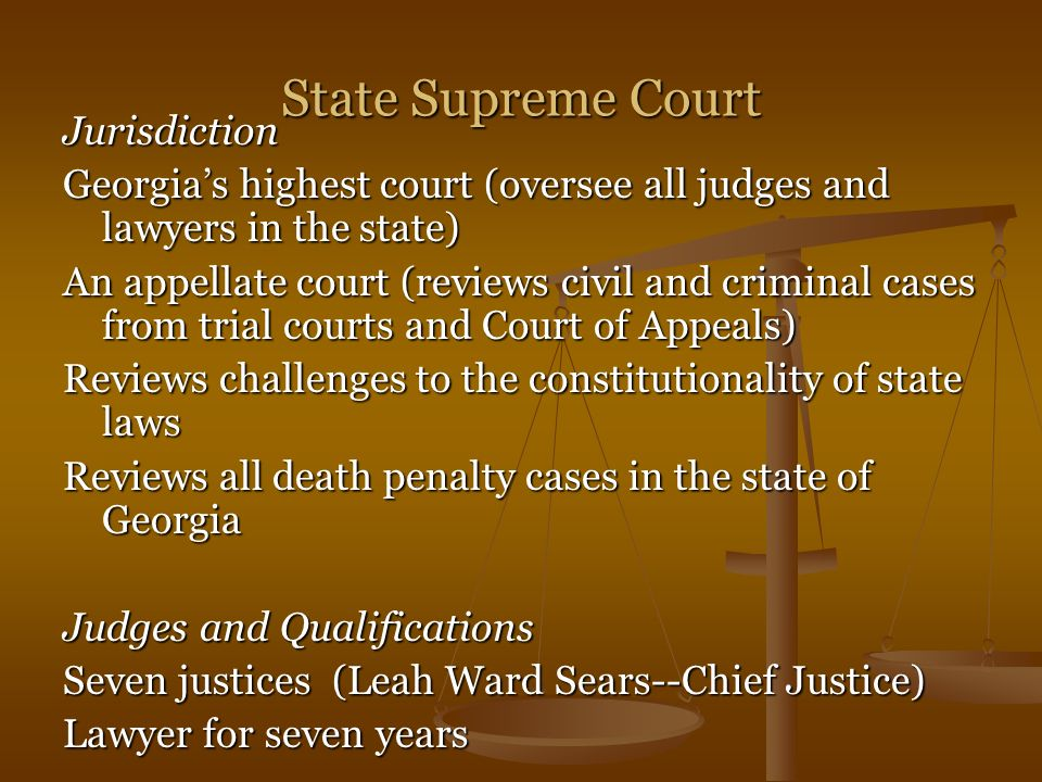 State Supreme Court Jurisdiction