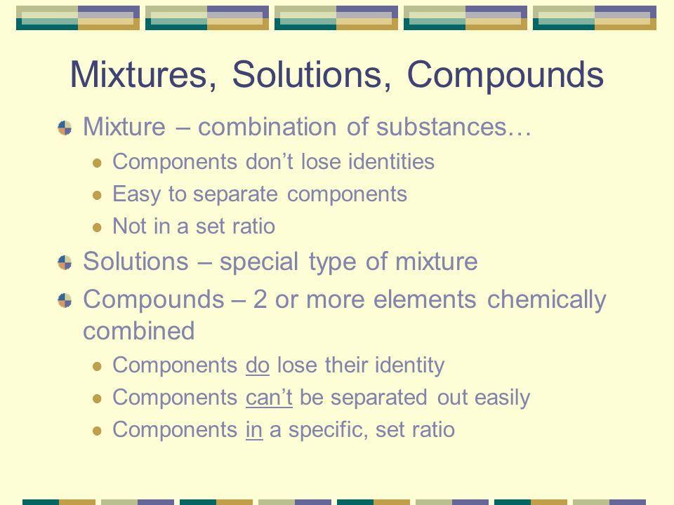 Mixtures, Solutions, Compounds