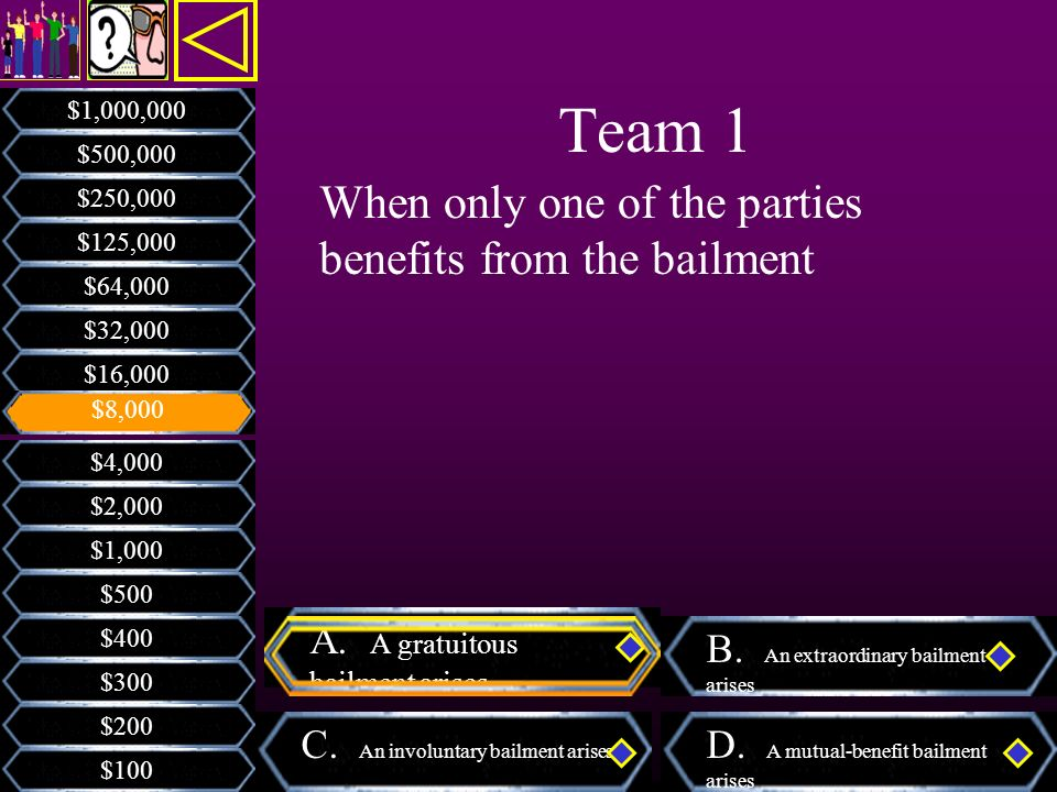 Team 1 When only one of the parties benefits from the bailment