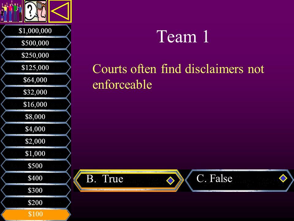 Team 1 Courts often find disclaimers not enforceable B. True C. False
