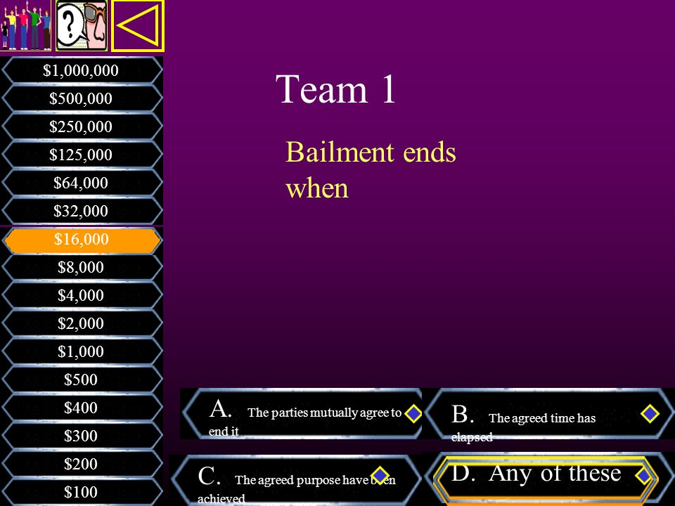 Team 1 A. The parties mutually agree to end it