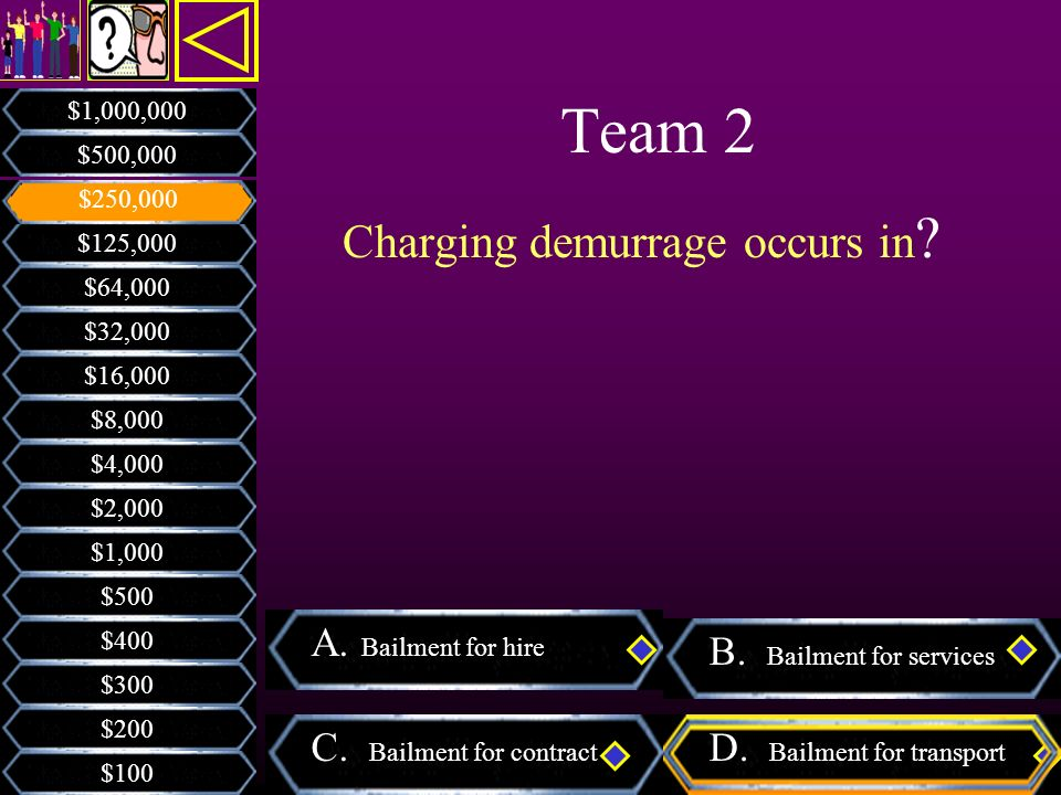 Team 2 Charging demurrage occurs in A. Bailment for hire