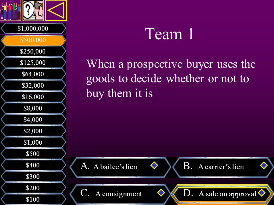Team 1 $1,000,000. $500,000. $250,000. When a prospective buyer uses the goods to decide whether or not to buy them it is.