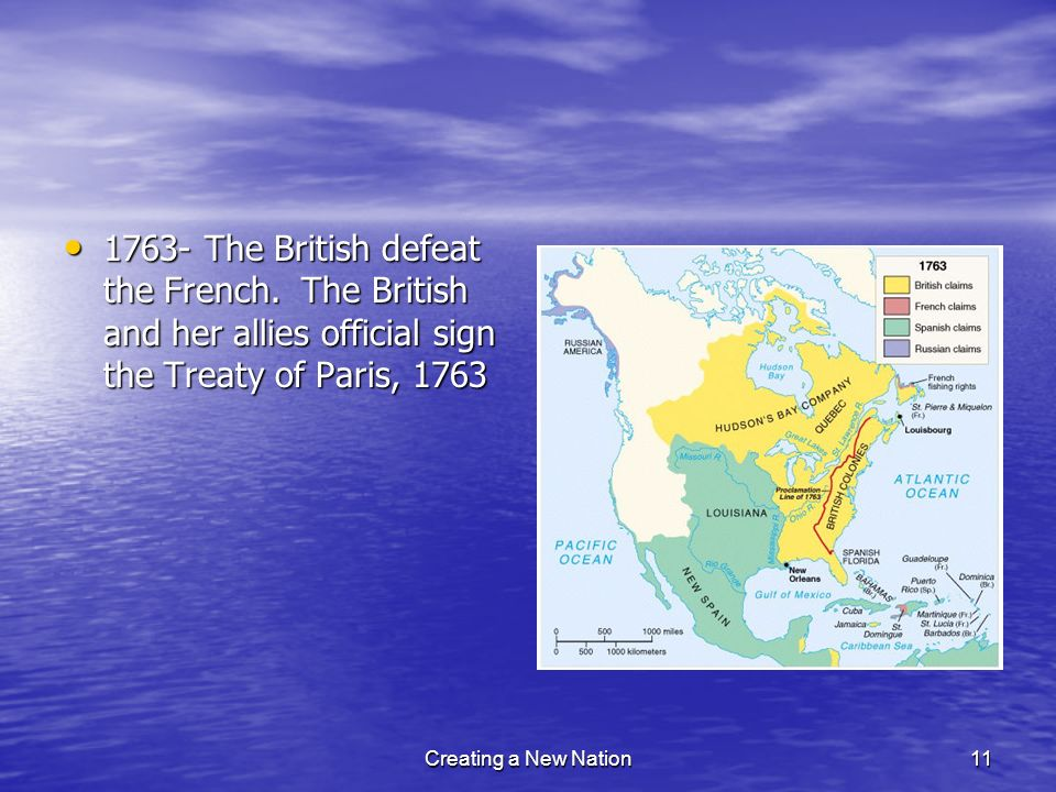 1763- The British defeat the French