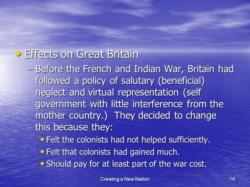 Effects on Great Britain