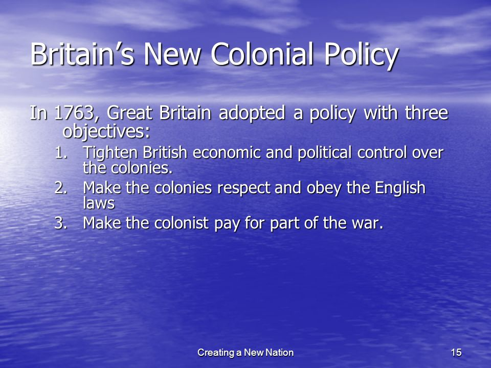 Britain's New Colonial Policy