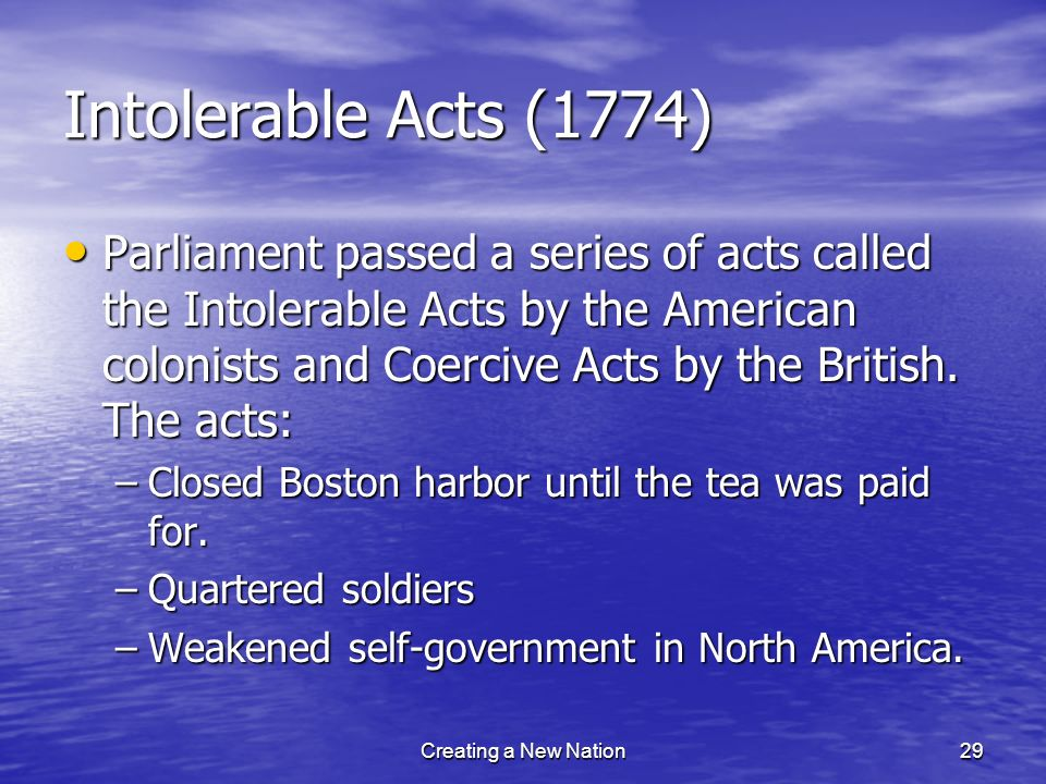 Intolerable Acts (1774)