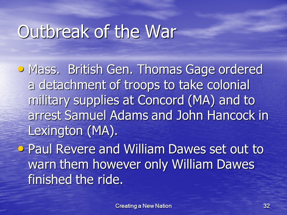 Outbreak of the War