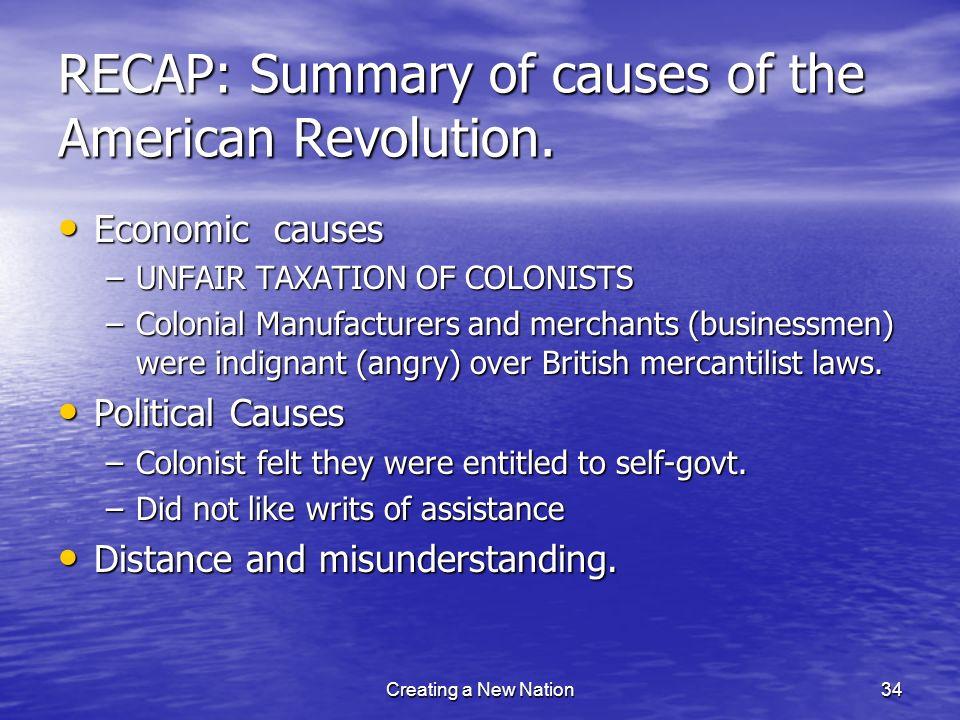 RECAP: Summary of causes of the American Revolution.