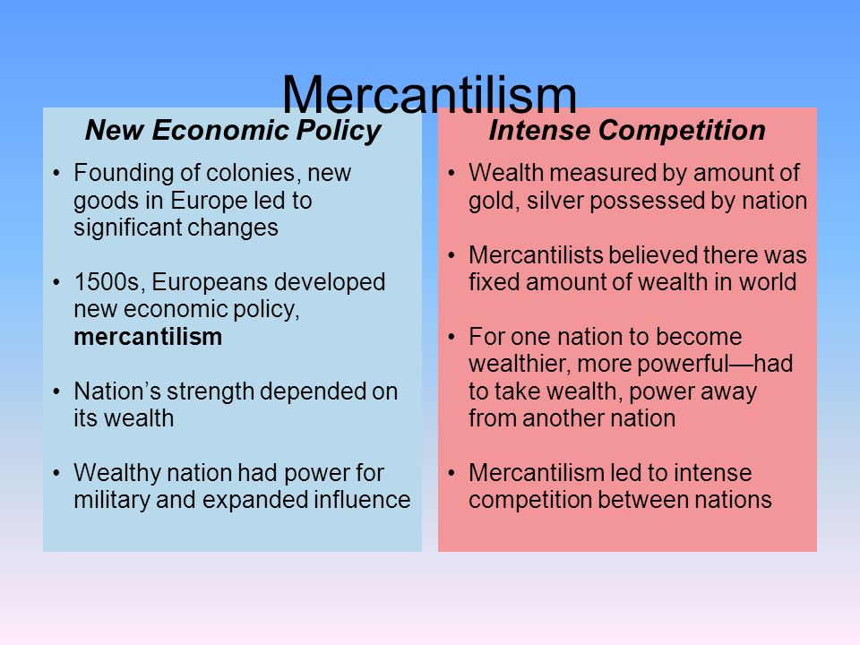 Mercantilism New Economic Policy Intense Competition