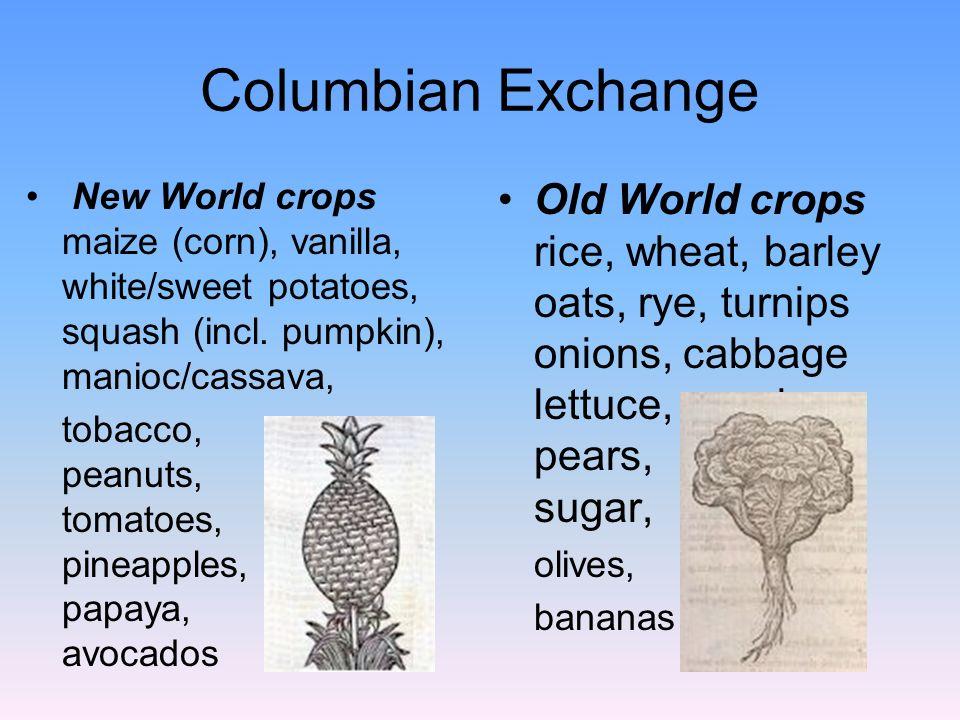 Columbian Exchange New World crops maize (corn), vanilla, white/sweet potatoes, squash (incl. pumpkin), manioc/cassava,