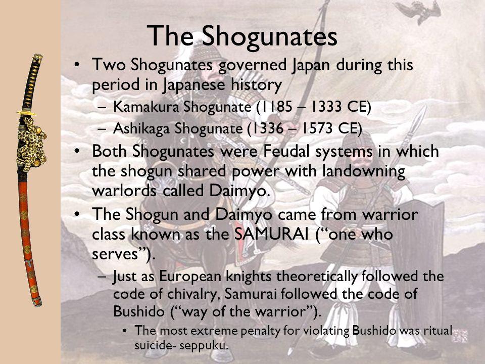 The Shogunates Two Shogunates governed Japan during this period in Japanese history. Kamakura Shogunate (1185 – 1333 CE)
