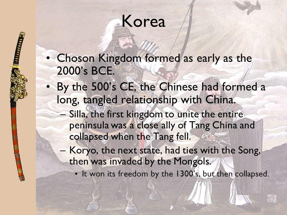 Korea Choson Kingdom formed as early as the 2000's BCE.
