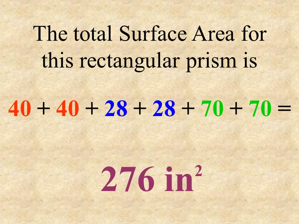 The total Surface Area for this rectangular prism is