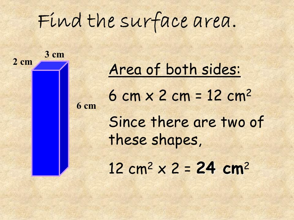 Find the surface area. Area of both sides: 6 cm x 2 cm = 12 cm2