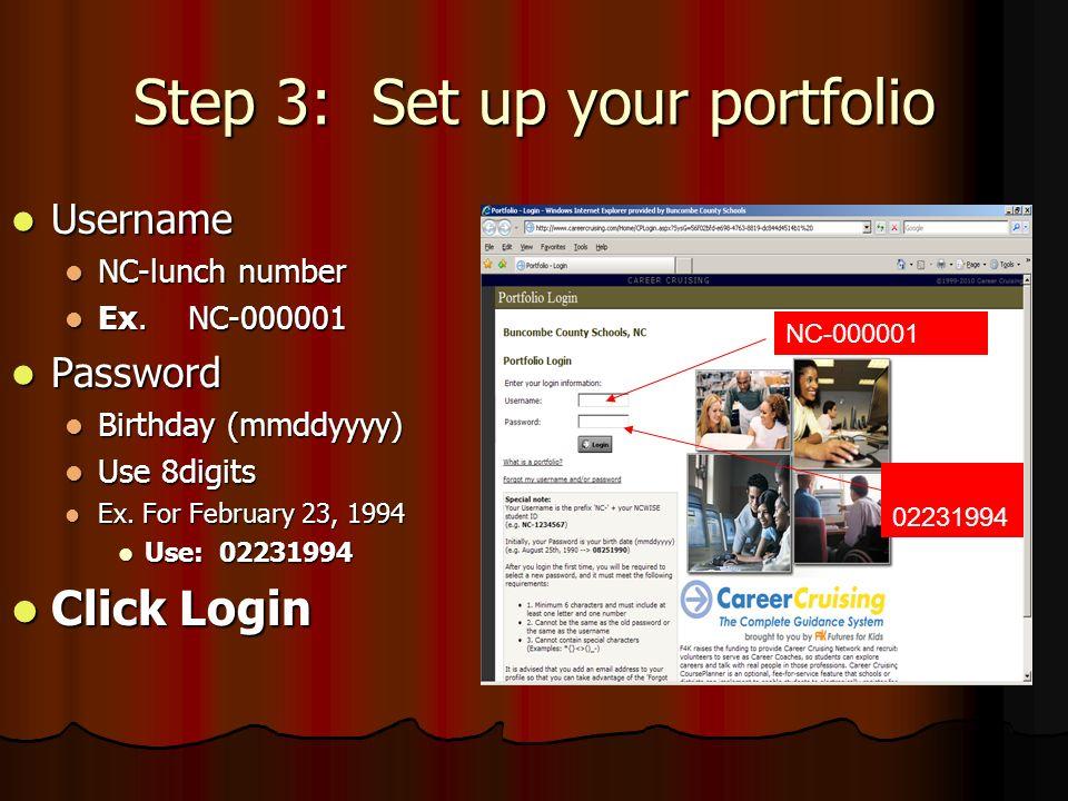 Step 3: Set up your portfolio