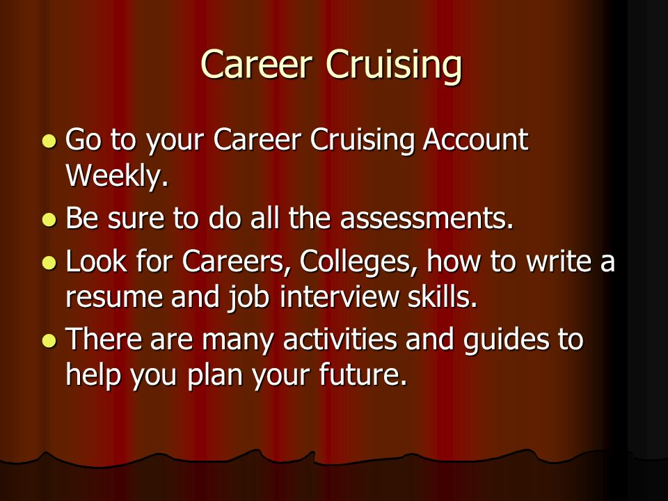 Career Cruising Go to your Career Cruising Account Weekly.