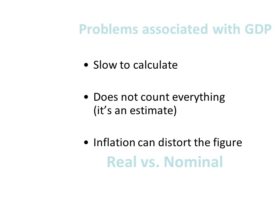 Problems associated with GDP
