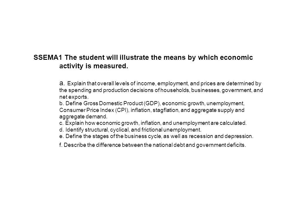 SSEMA1 The student will illustrate the means by which economic activity is measured.