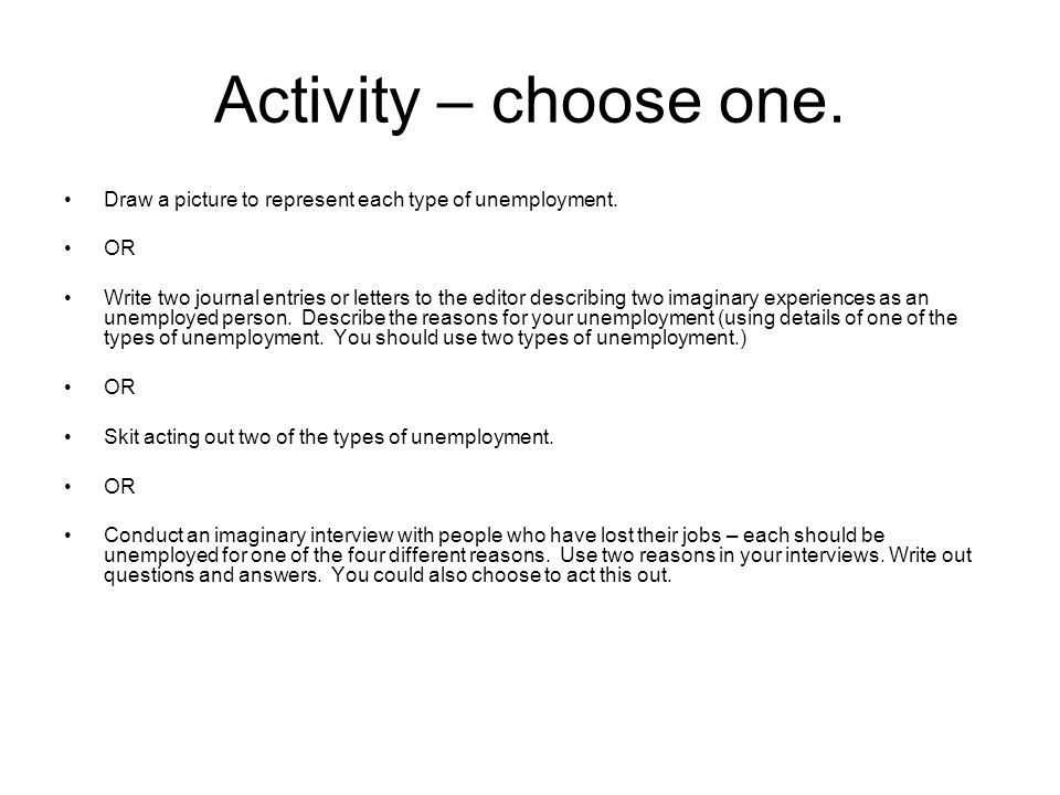 Activity – choose one. Draw a picture to represent each type of unemployment. OR.